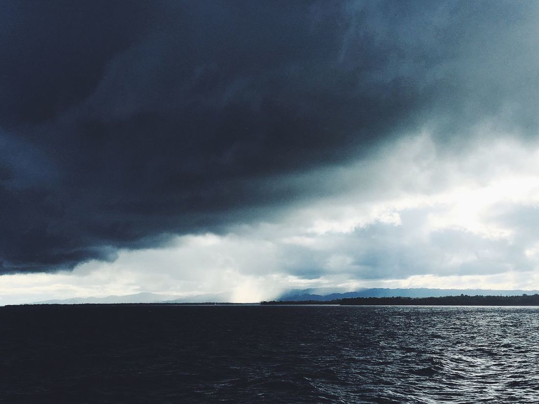 A kind of storm. Storm Cloud Clouds Sea Ocean Horizon Over Water Thunderstorm Philippines