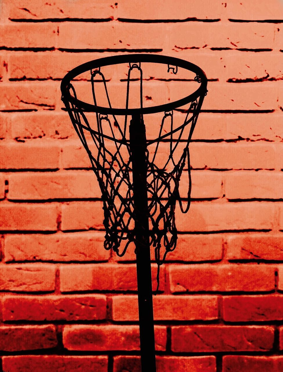 brick wall, basketball - sport, wall - building feature, basketball hoop, basketball, electricity, low angle view, outdoors, no people, day, red, architecture, built structure, sport, close-up