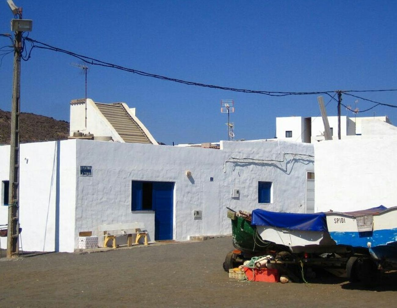 White house, blue door (Fuerteventura, Spain) Fuerteventura Beach Town White