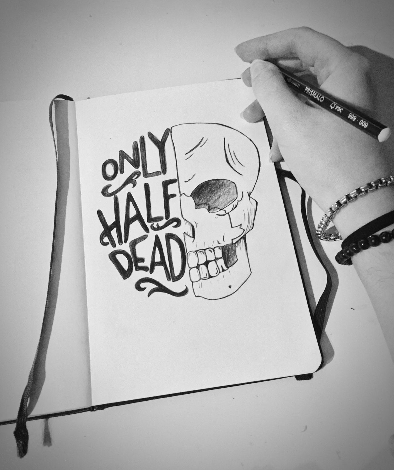 Sooo dramatic... Inspired By Art Drawing Just Listening To Music Skull Quote Black And White