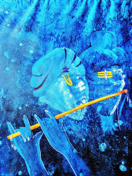 Blue Textured  Love Shiva Shivshambhoo Krishna Onesoul Lord Krishna  LordShiva Acrylic Painting Acrylic Canvas Acryliconcanvasart Multi Colored Sprituality Imagination Symbol Exhibition Rooms Devotion Creativity ArtWork Lord Front View Vibrant Color