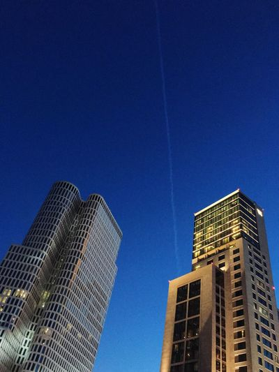 Skyscraper Architecture Low Angle View Modern Blue Building Exterior City Built Structure Clear Sky Tall Growth No People Cityscape Urban Skyline Outdoors Office Park Day Sky