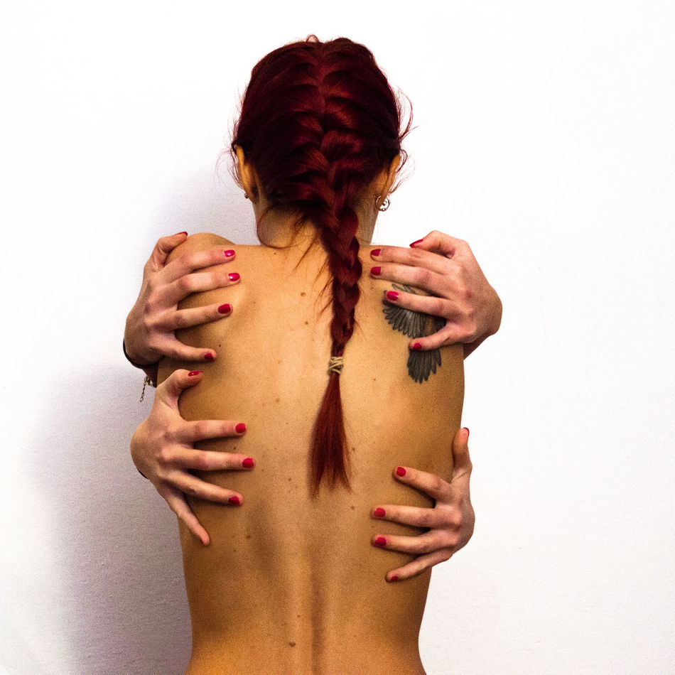 Hands Bird Body & Fitness Body Language Body Part Bodyshot Braid Braided Hair Hands Nature Nude_model Red Red Hair Red Head Redhead Tattoo White Background