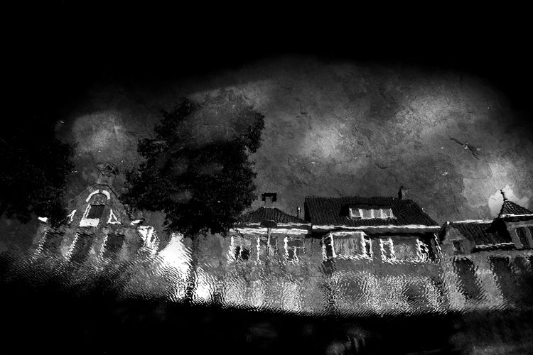 Reflected Houses in Canal Ghostly Gothic Netherlands Poetic Reflection Architecture Atmospheric Mood Black And White Building Exterior Built Structure Canal Dark Beauty Grønningen Haunting  Holland Illuminated Moody Nature Night No People Outdoors Painting Reflections Sky Water