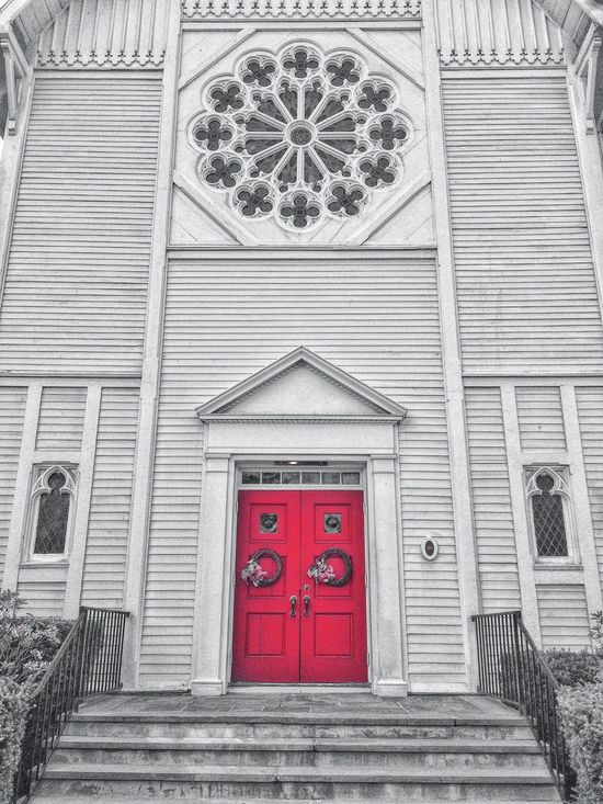 Downtown walkabout.... First Congregational Church Downtown Town Center Town Centre New England  Connecticut Stratford Structure Building Architecture Exterior Red Door Door Window Stained Glass Christianity Spire  Steeple (null)Clapboard Church