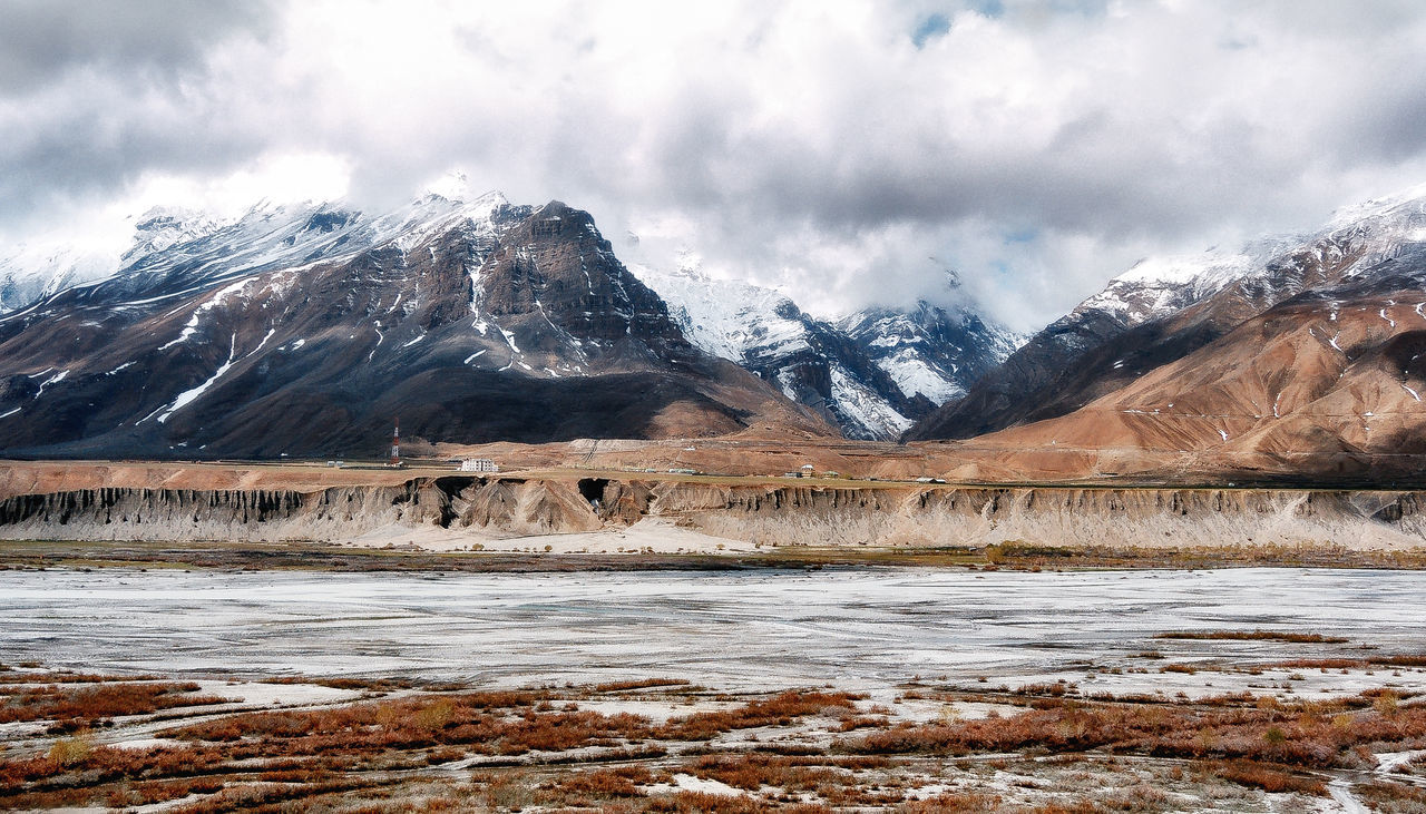 Inside the Spiti Valley ! Mountain Water Sky Outdoors No People Beauty In Nature Nature Miles Away Travel Travel Photography Betterlandscapes Mountain Peak Beauty Scenics Beauty In Nature Cold Temperature Mountain Range Atmospheric Mood