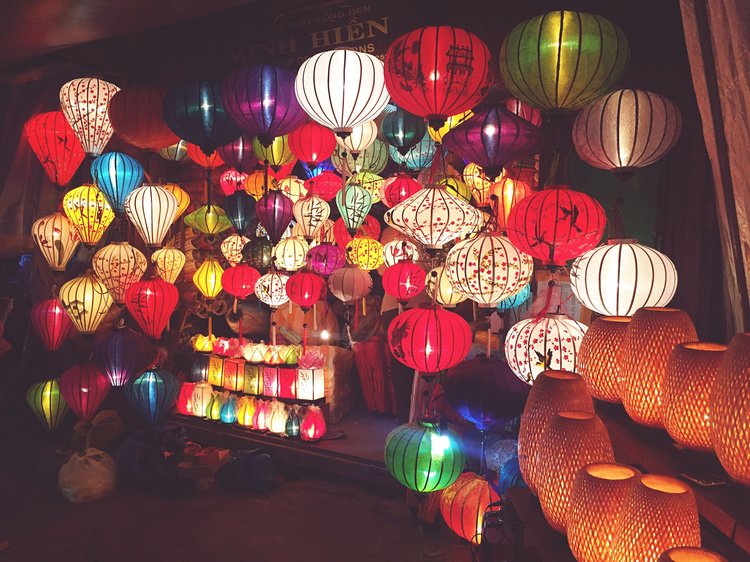 illuminated, lantern, hanging, night, multi colored, large group of objects, low angle view, variation, choice, outdoors, collection, retail, abundance, flying, colorful, tourism