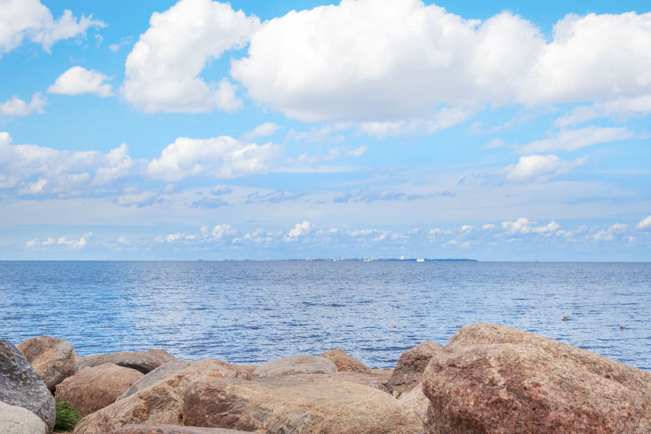 Sea Beach Water Horizon Sky Clouds Rocks Rocks And Water Stone Stones Travel Baltic Sea Gulf Of Finland Landscape Summer Tourism Background