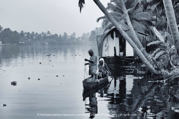 blackandwhite at Kerala Houseboats by Henrique Santos