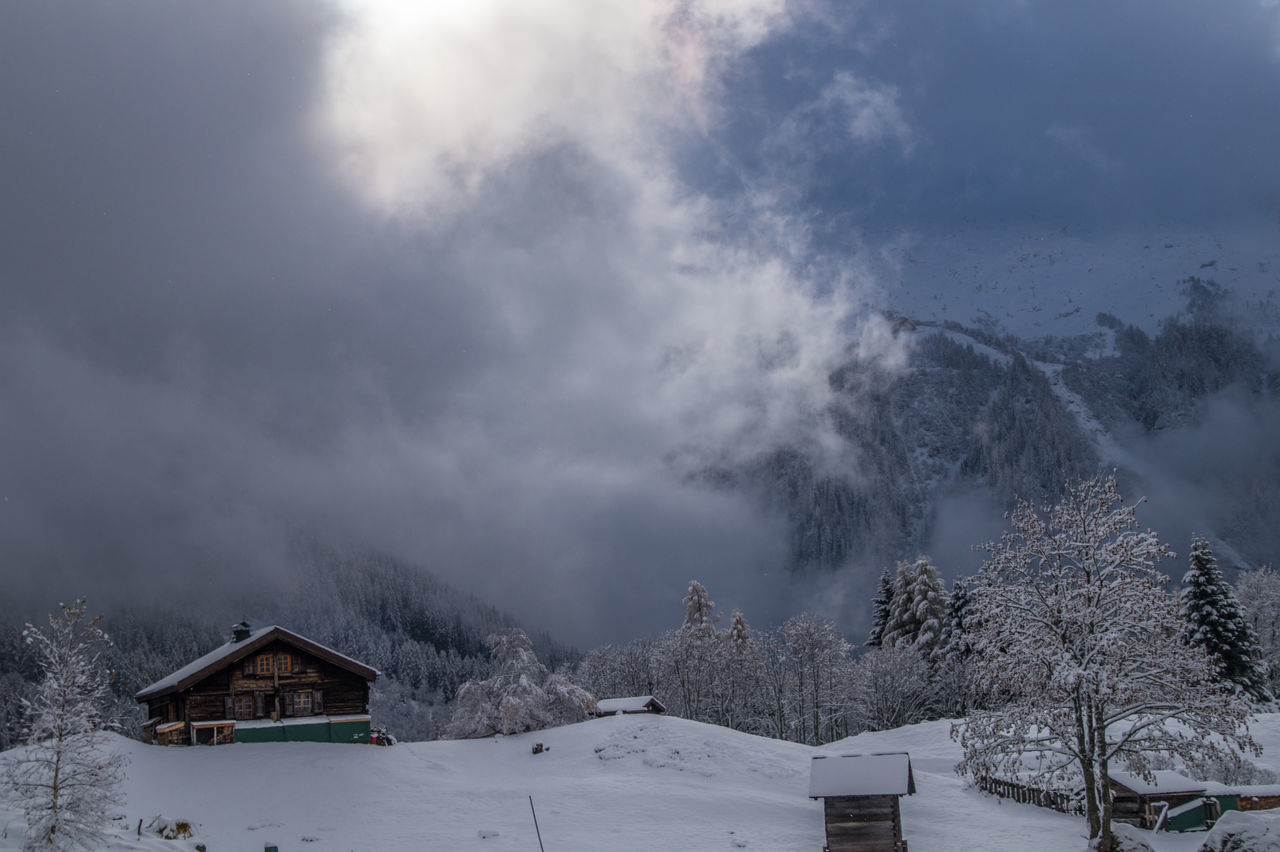 trelechamp,chamonix,haute savoie,france Chalet Cloud - Sky Cold Temperature Day Forest Nature No People Outdoors Snow Tree Winter