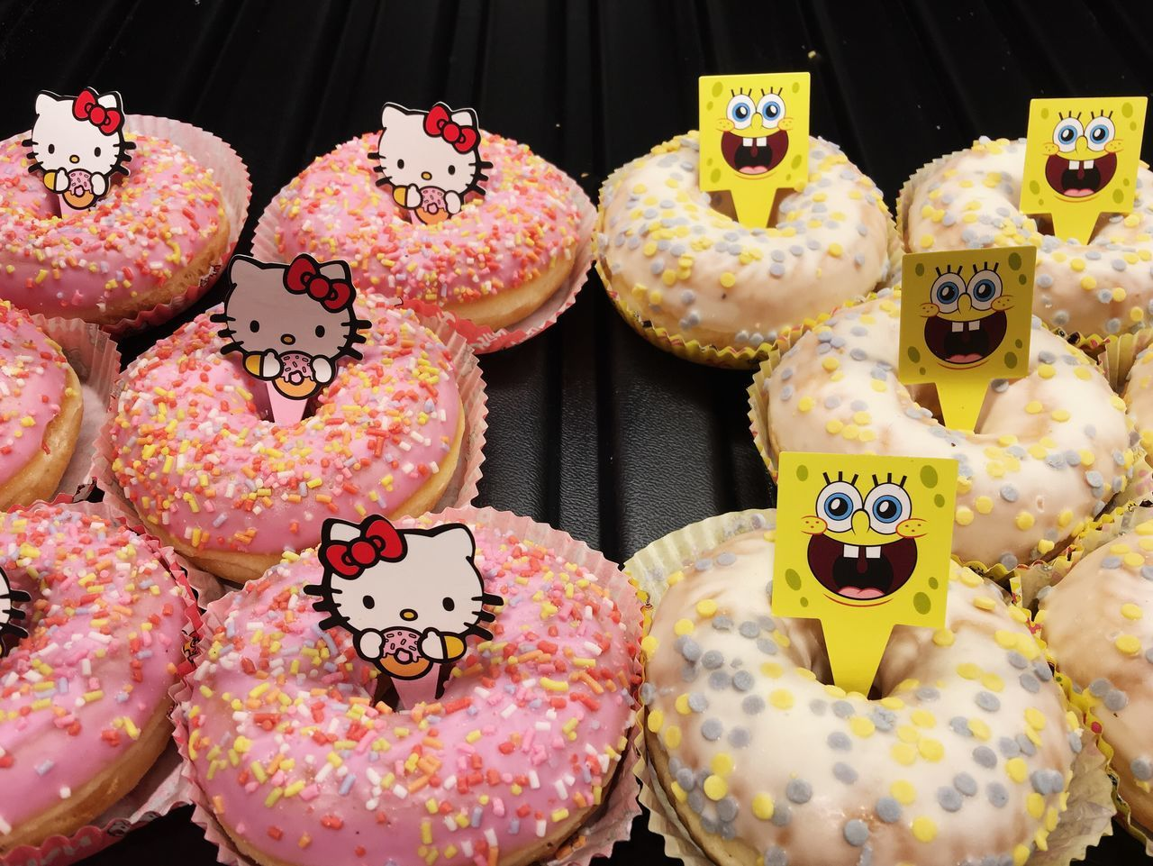 Happy donuts... Sweet Food Food And Drink Unhealthy Eating Sprinkles Dessert Donut Cupcake Freshness Ready-to-eat Dessert Topping Temptation Food Baked Spongebob Hellokitty Yellow Pink Color Yellow Color Close-up Tasty Yummy Found On The Roll Vscocam Details Of My Life Always Be Cozy