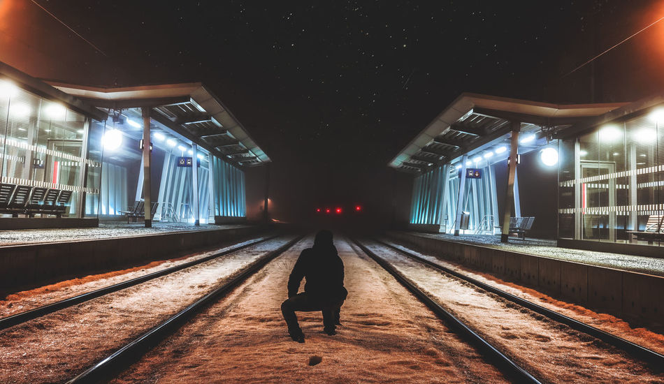 - Roamthenights - Chasing the fog Dopephotography DopeShit Exploring EyeEm Best Shots Faded Faded Nights Illuminated Long Exposure Men Moody Sky Moodygrams Night Nightphotography Nightsky Picoftheday Somoody Speed Stargazing Stars The Way Forward Train Train Station Travel Vscocam Walking Around