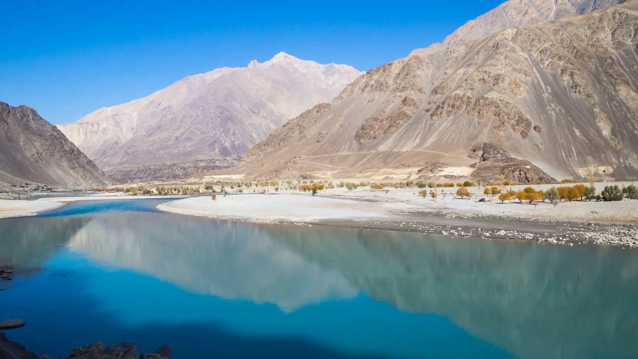 Reflection Water Blue Landscape Sky Mountain Beautiful Nature Blue Water Travel Destinations Along The Way Riverview River Blue Sky River View Riverside Blue River Blue Water Blue Sky