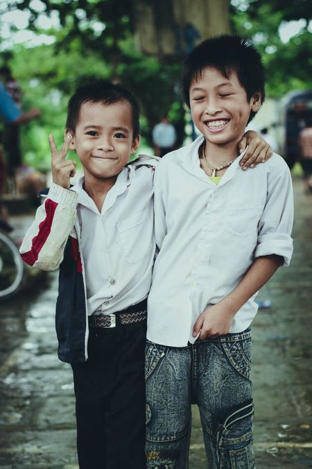 The Smile of a Child is always the most Truthful smile. Boy Taking Photos Enjoying Life Vietnam Hopeful Brother Friends