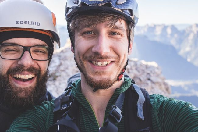 Friends Mountains Selfie ✌ Climbing Hiking Dolomites, Italy Adventure Gaudi