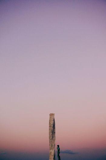 Gradient Pink Purple Blue Sky Colours Sunset Statue Statue Of David Art Color Palette