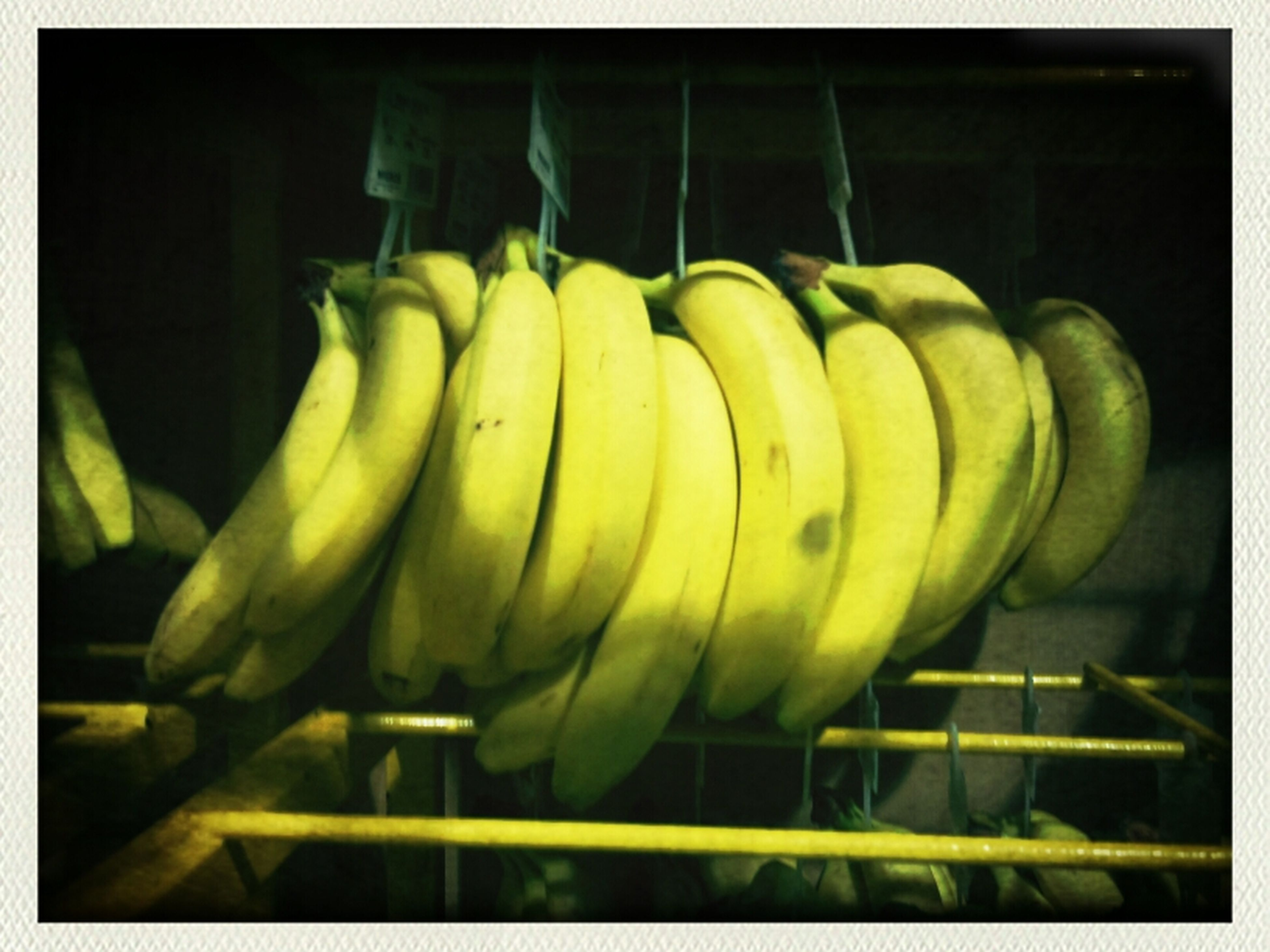 transfer print, auto post production filter, green color, indoors, yellow, food and drink, close-up, healthy eating, food, freshness, still life, no people, vegetable, fruit, hanging, day, basket, banana, sunlight