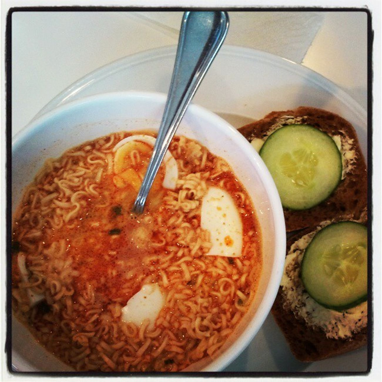 Spicy breakfast @ work Thai food Tom yum Noodle