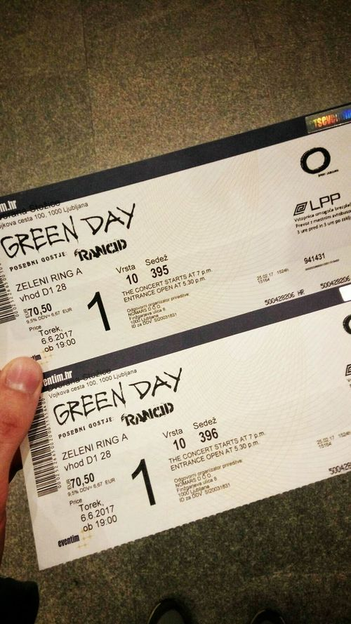 Trow back at the concert 🎫 Text Western Script Communication Paper Handwriting  Writing Message Human Hand Human Body Part Close-up Indoors  Day One Person One Man Only Only Men People Green Greenday Green Day Green Day💚 Green Day❤ Trowback Tb TBT  Tickets