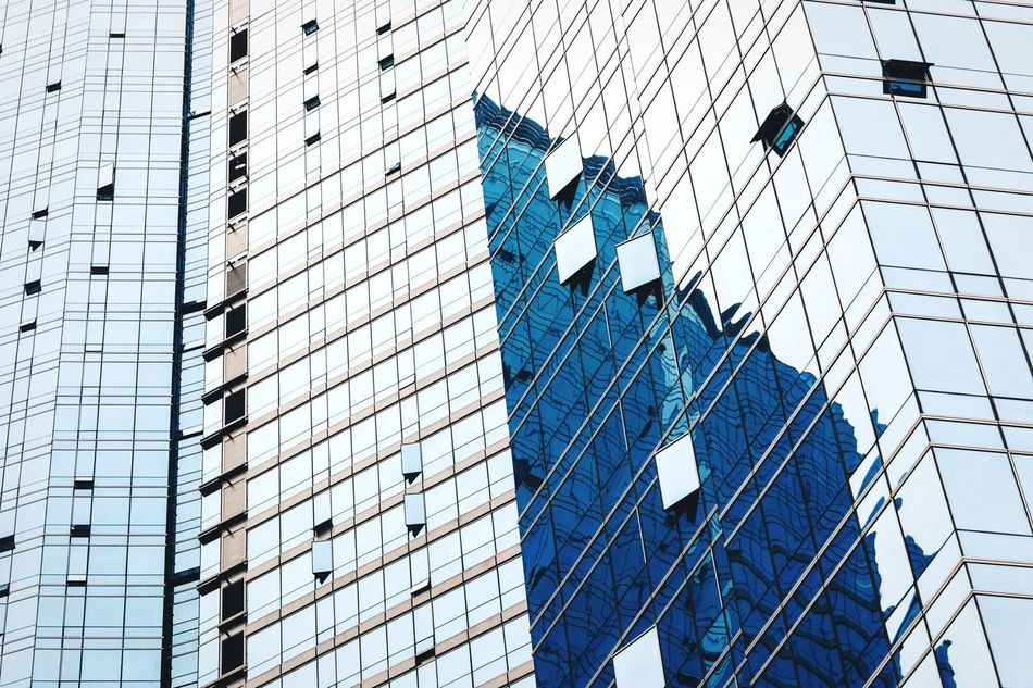 Jade blue Architecture Building Exterior Built Structure Modern Low Angle View Skyscraper City Tower Financial District  No People Office Building Exterior Outdoors My Year My View Window Curtain Walls Office Building Residential Building Residential Structure Apartment Apartment Buildings Busan Korea Pattern Textured  Reflection