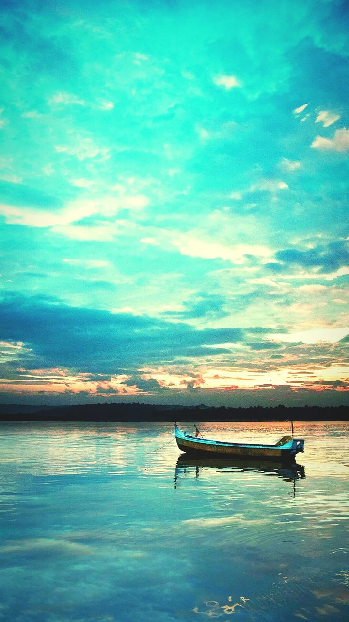 water, nautical vessel, nature, tranquility, beauty in nature, tranquil scene, sky, scenics, transportation, cloud - sky, mode of transport, sea, waterfront, outdoors, moored, no people, sunset, day, outrigger