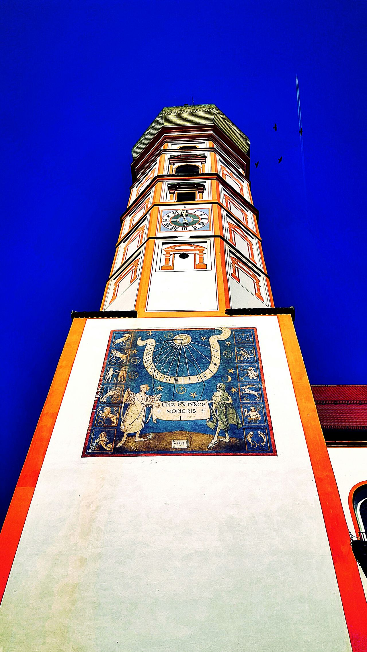 Weilheim Fine Art Photography No People GERMANY🇩🇪DEUTSCHERLAND@ Fresh On Eyeem  My Capture  Hello World The Week Of Eyeem Check This Out My Point Of View Eyeem Photography Showcase July Architecture Sky Blue Sky Towers And Sky Tower Wall Painting Religious Architecture Weilheim Birds Silhouette The Week On EyeEm