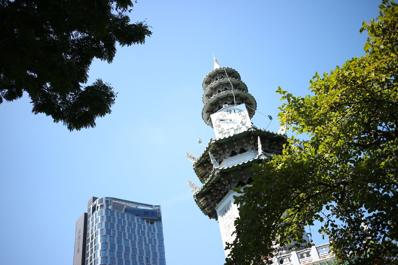 tower in park Architecture Bangkok Building Exterior Built Structure City Clear Sky Clock Tower Day Dome History Low Angle View No People Outdoors Sky Suanlum Tower Travel Travel Destinations Tree