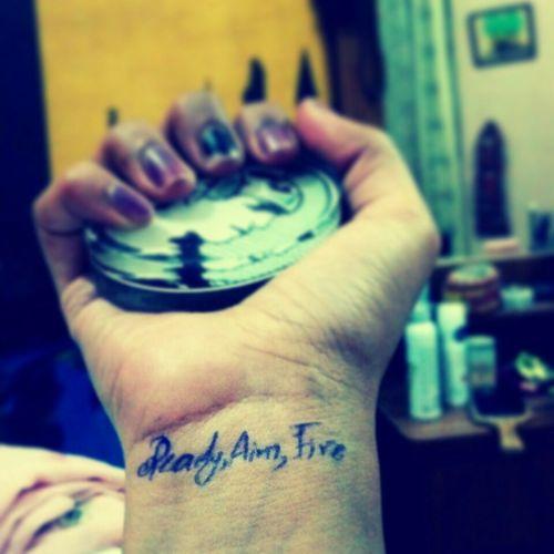 Ready, Aim, Fire Mylatenitethoughts Randomness Ballpen Tattoo