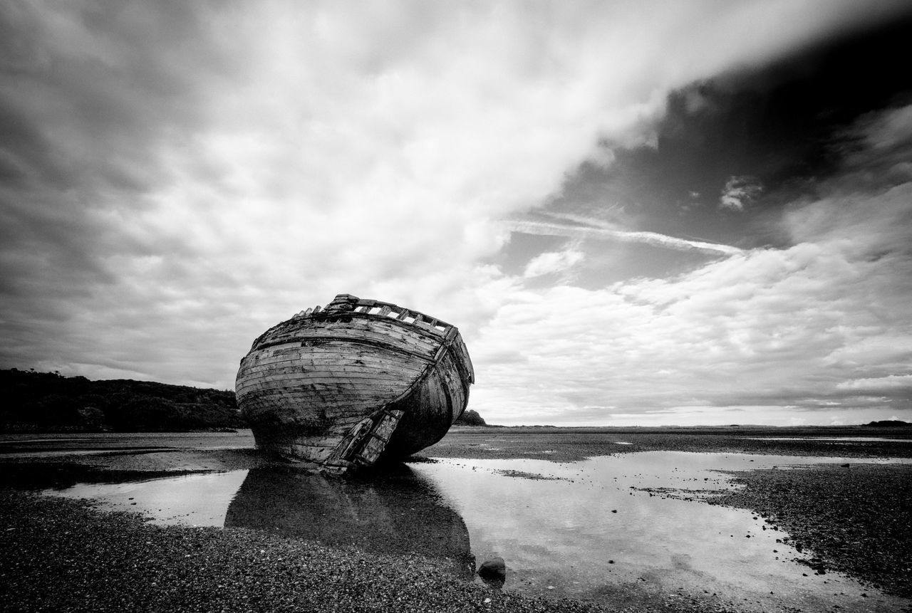 Wreck on Traeth Dulas, Anglesey OlympusPEN Blackandwhite Monochrome Beached Boats Abandoned Light And Shadow Sea And Sky