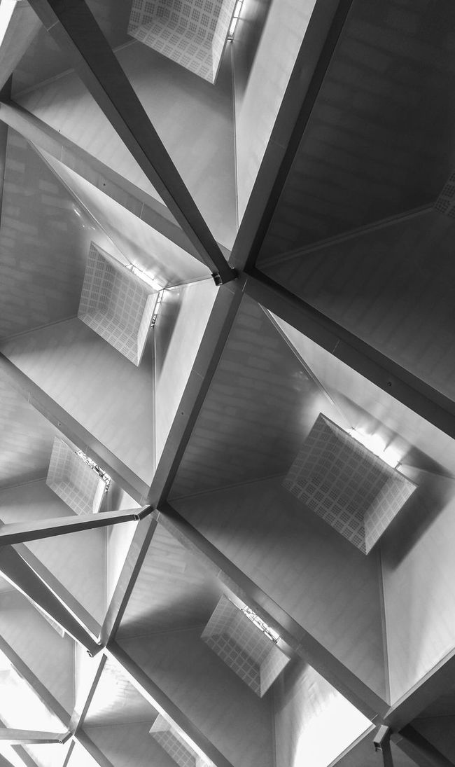 Architecture Built Structure Indoors  Low Angle View Ceiling Architectural Feature Close-up Geometric Shape Full Frame Modern Repetition Roof Beam Architectural Design Architectural No People Diminishing Perspective Architecture And Art