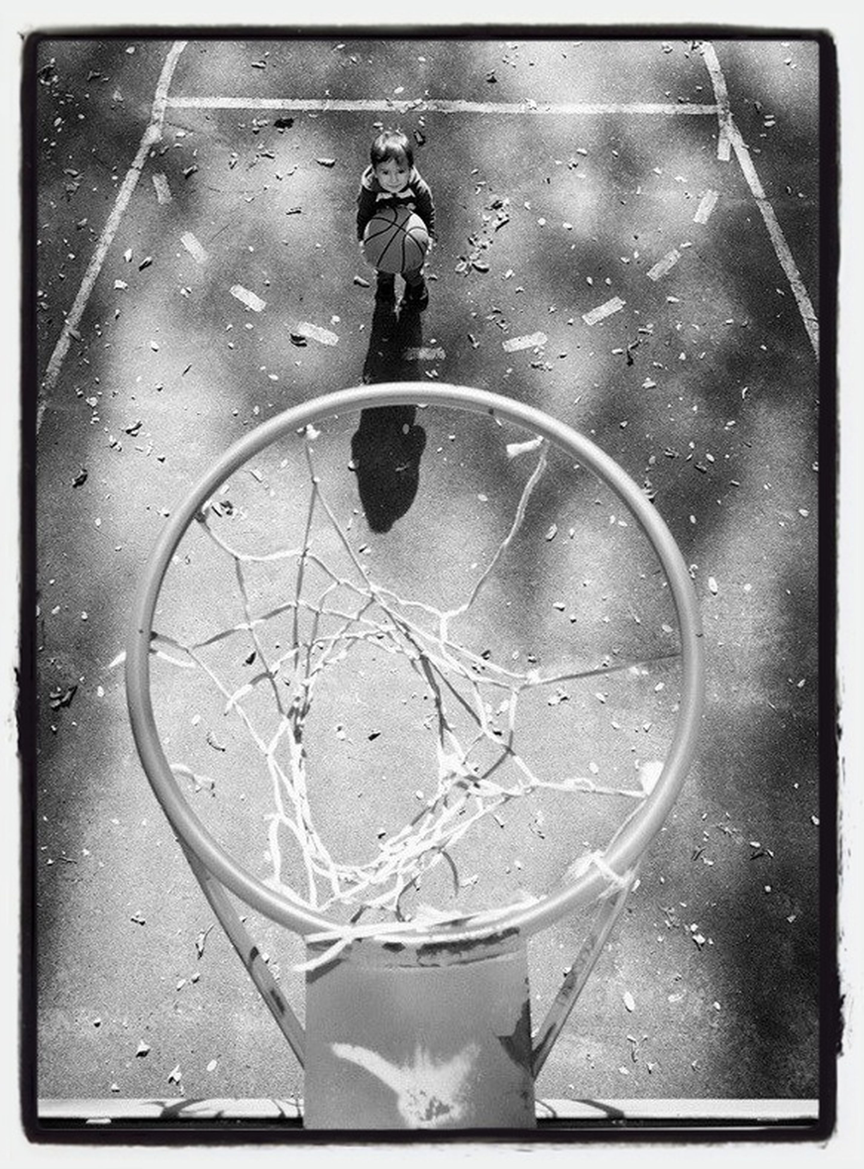 transfer print, auto post production filter, high angle view, indoors, close-up, wet, water, metal, drop, reflection, street, rain, no people, day, glass - material, directly above, bicycle, transparent, still life