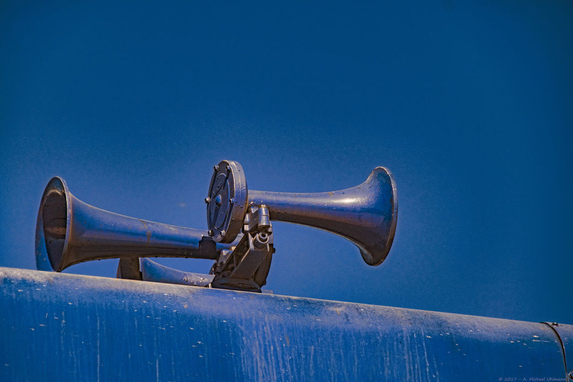 Abstract Air Horns Blue In Blue Color Day Horn Locomotive Mini No People Outdoors Sky Train Detail