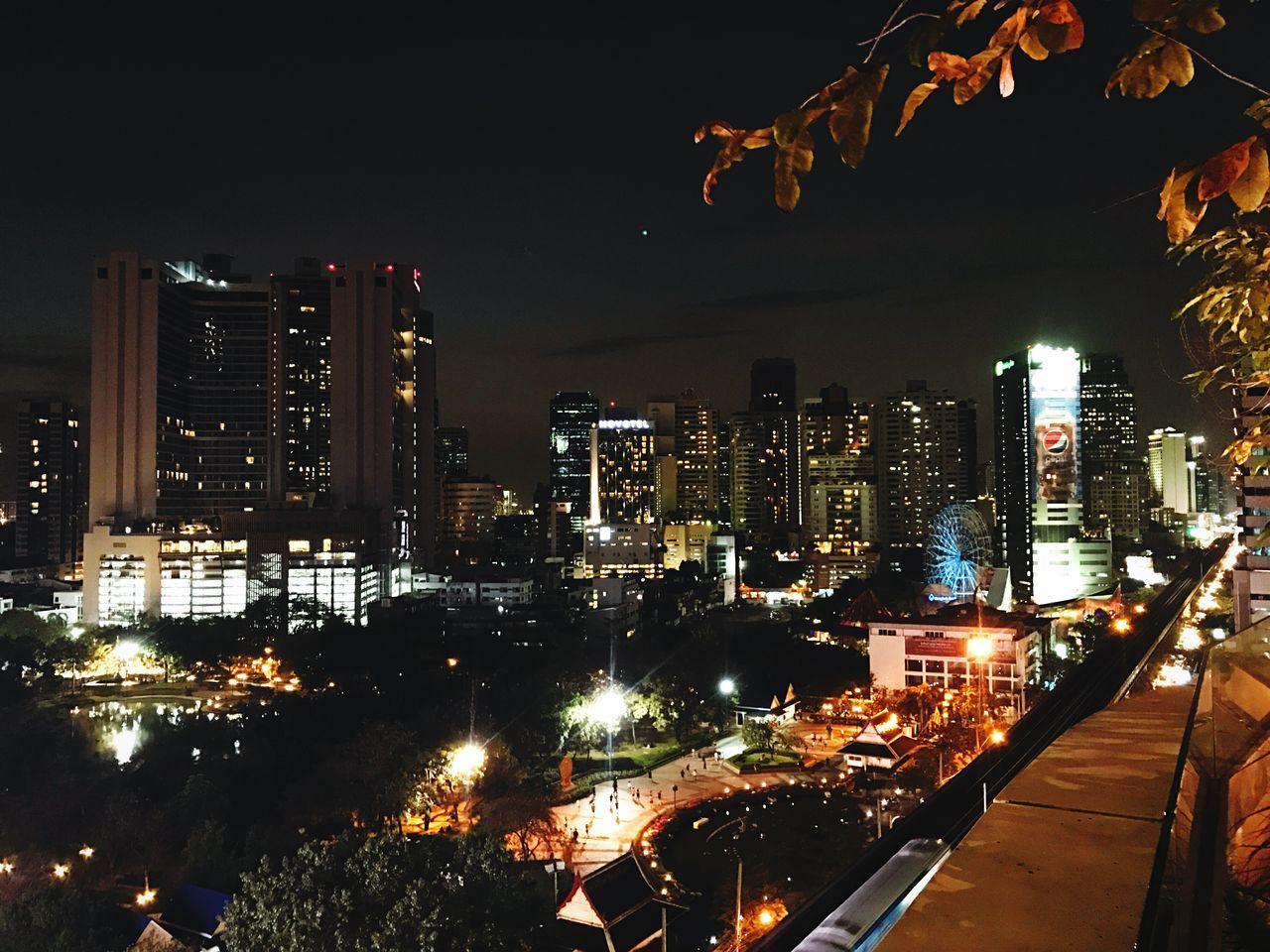 Night Lights Night View Nightshot Night Sky Night City Illuminated Rooftop High Angle View Bkk Thailand Cityscape