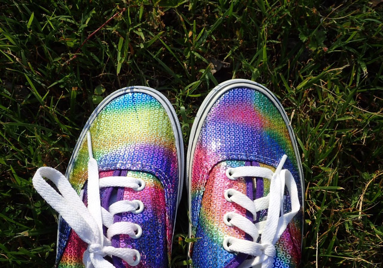 Shoe Pair Human Leg Low Section High Angle View Grass Canvas Shoe Day Standing Human Body Part One Person Outdoors Close-up People Rainbow Sneakers Rainbow Shoes Rainbow Colors Colorful Sneakers Colorful Shoes Colorful Out Of The Box