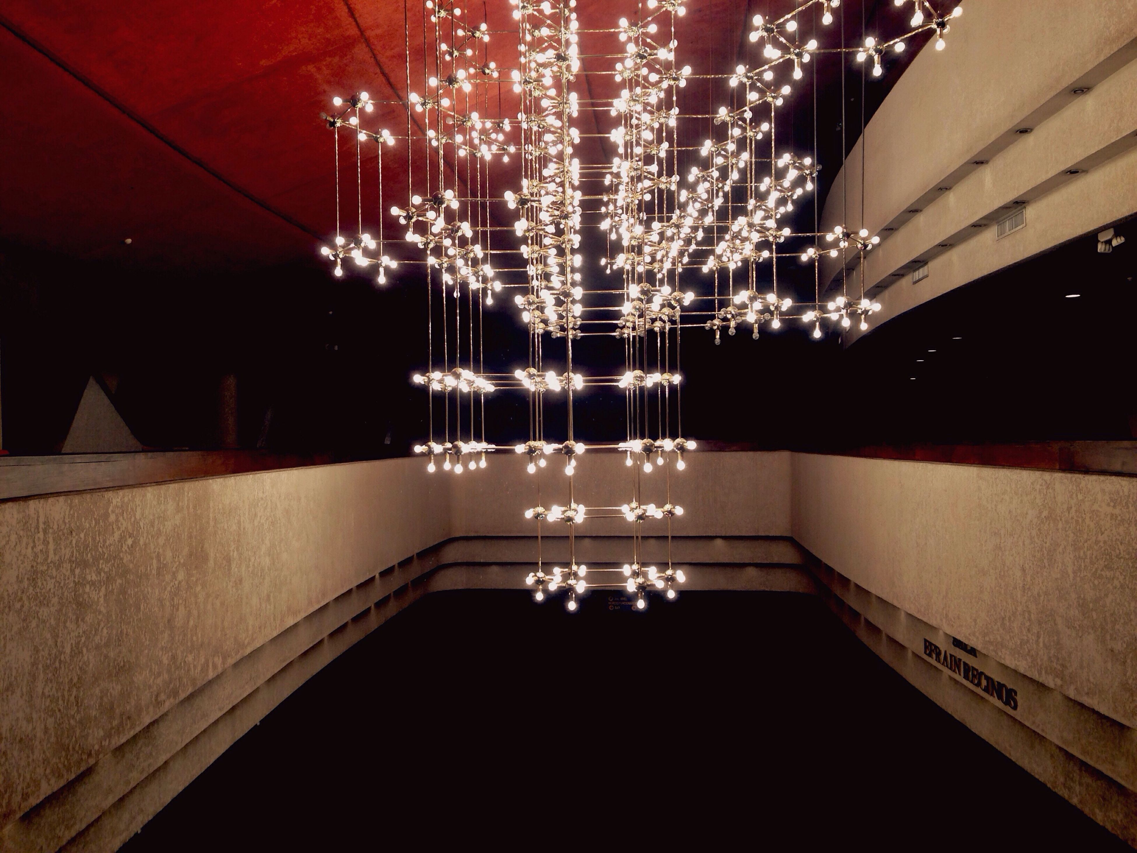 illuminated, architecture, indoors, built structure, no people, modern, water, night, close-up