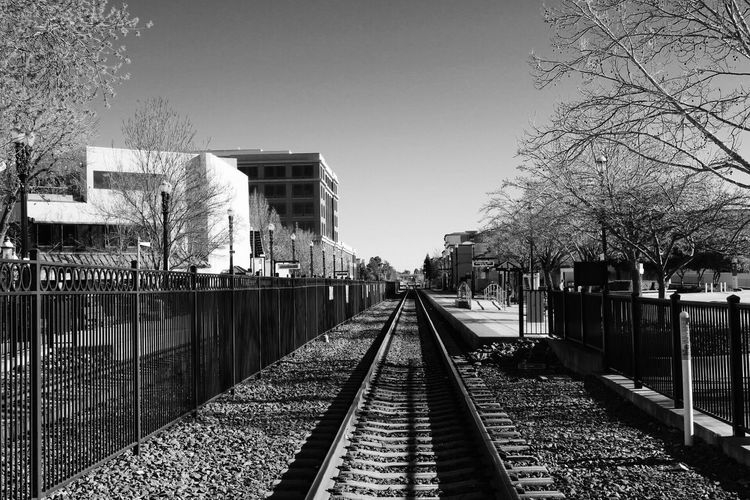 """""""Anyone can see the road that they walk on... Is paved in gold... And it's always summer..."""" 🎶 Redwoodcity USA California Train Station Beautiful Day B&w Canon Canonrebelt6i Canonusa CanonOffical Photography"""