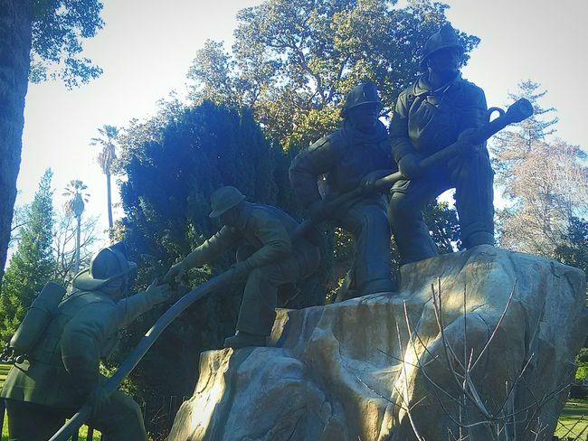 My Photography Taking Photos My Point Of View Memorial Park This Week On Eyeem Statue Fireman Memorial Fire Hose Art Photography