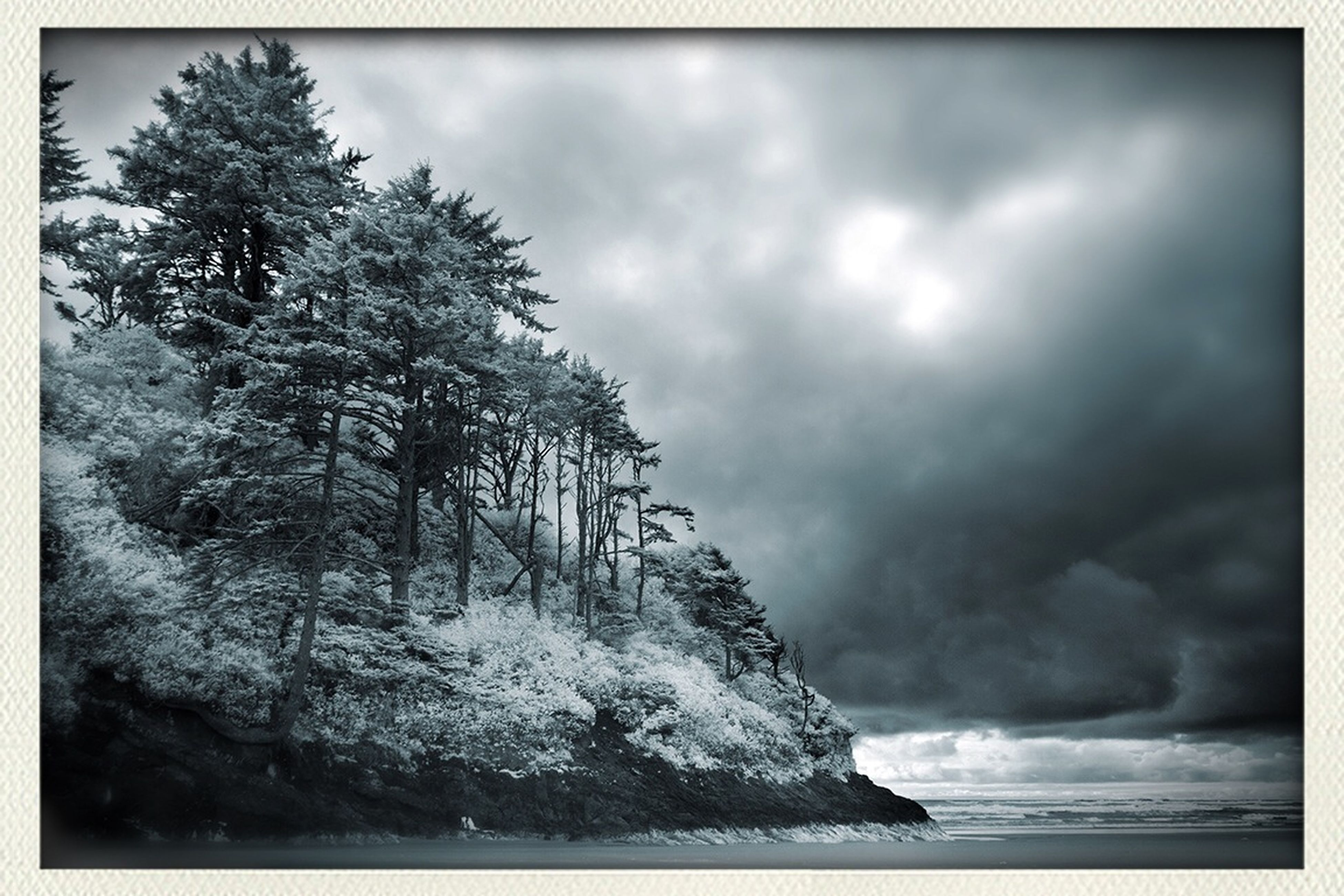 sky, transfer print, cloud - sky, tranquil scene, tranquility, water, cloudy, scenics, beauty in nature, auto post production filter, tree, nature, sea, cloud, overcast, weather, idyllic, rock - object, non-urban scene, outdoors