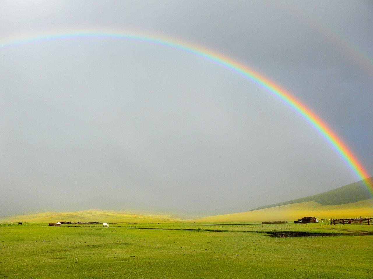 Rainbow Double Rainbow Grass Outdoors No People Refraction Scenics Landscape Nature Beauty In Nature Golf Course Natural Phenomenon Clouds Cloudy Grey Green Grass Grassland Plain Plains EyeEmNewHere Mongolia Storm Cloud Tranquil Scene Tranquility