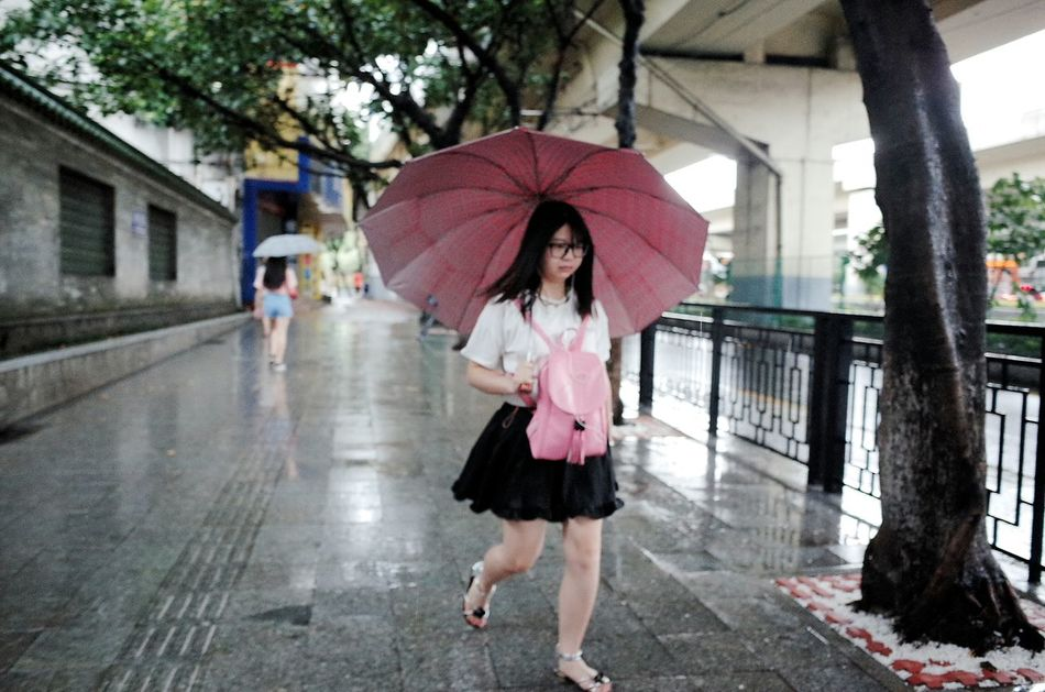 Girl Rainy Day Umbrella Pink by Ricoh Gr