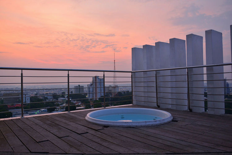 Architecture Building Exterior Building Terrace Built Structure City City Life Cloud Cloud - Sky Eyeemphotography First Eyeem Photo Jacuzzi  My Favorite Place Nature No People Observation Point Outdoors Railing Sea Sky Sun Sunset Taking Photos Terrace Tranquility Water