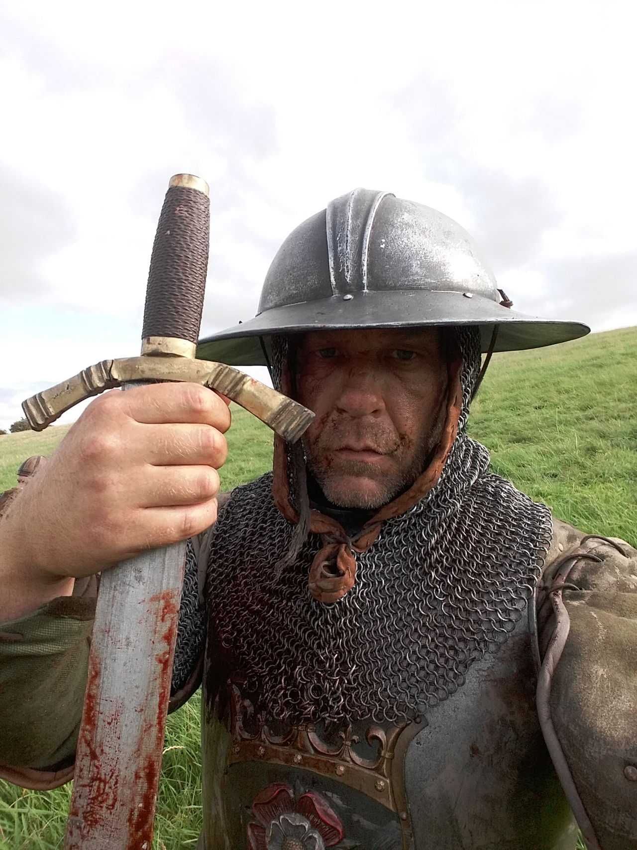 BLOODY Soldier Warrior Battle Battle Weary Bloodied Close-up Day Field Front View Holding Mediaeval One Person Outdoors Real People Sky