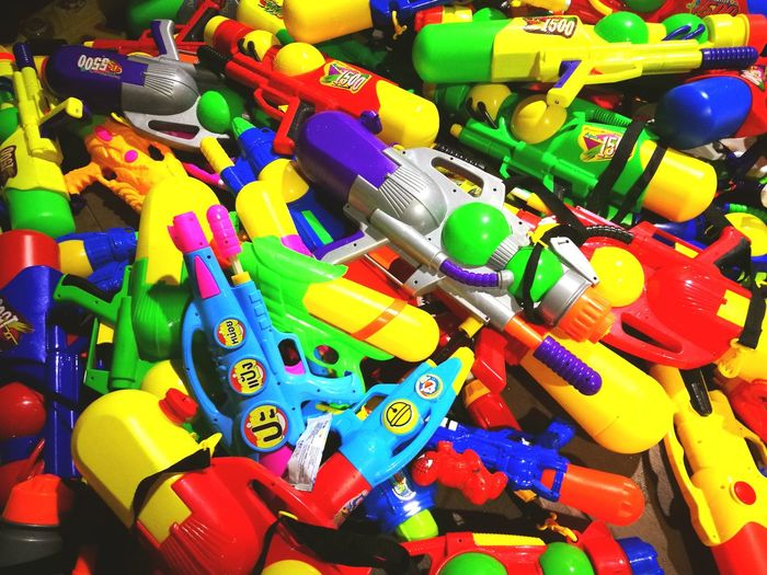 Songkarn Multi Colored Full Frame No People Large Group Of Objects Abundance Variation Business Finance And Industry Indoors  Day Close-up Water Watergun Watergunfestival Festival Songkran Festival Mobilephotography