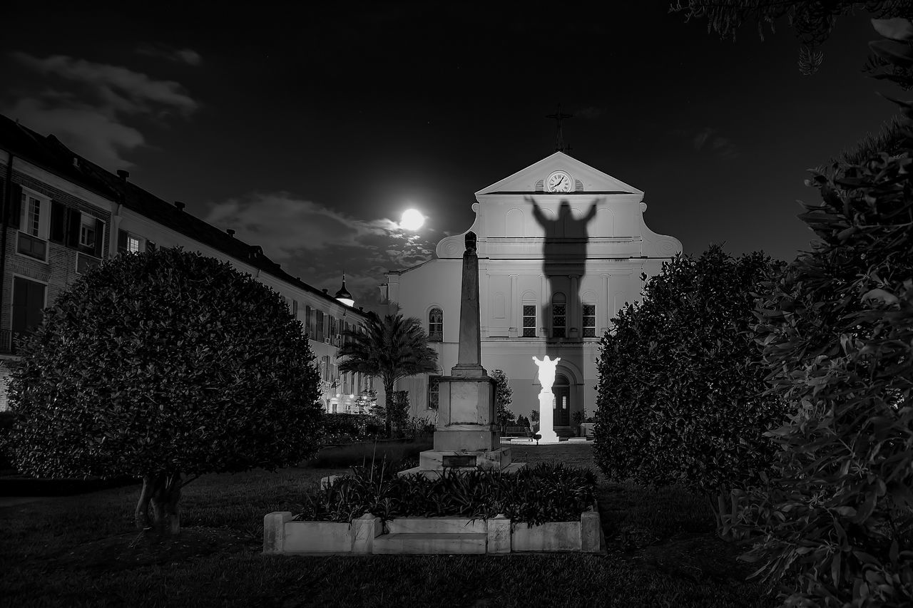 Architecture Building Exterior Built Structure Catholic Church City City Life Cloud Day Façade Growth Illuminated Jesus Long Exposure New Orleans Night No People NOLA Outdoors Shadow Shadows & Lights Sky Travel Destinations Tree Urban