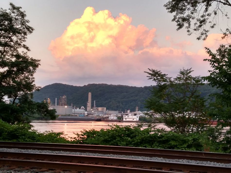 Gods Colors Through My Lens From My Point Of View Perspective Shot Wellsville Ohio Railroad Tracks Industrial Plant Sunset Pink Clouds Pink Cloud Perspective Perspective Photography Nature Lover Riverscape Ohio River River Collection West Virginia Hills Beautiful Sky Beautiful Composition Composition