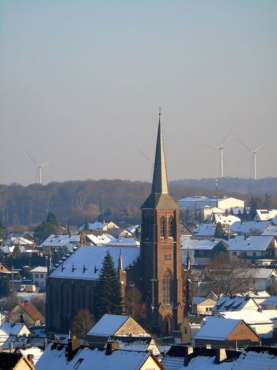 On My Way Hom Raststättenausblic Alternative Energy Architecture Building Exterior Built Structure Church Cold Temperature Day Mountain My Point Of View Nature No People Outdoors Renewable Energy Sky Snow Windmill Winter