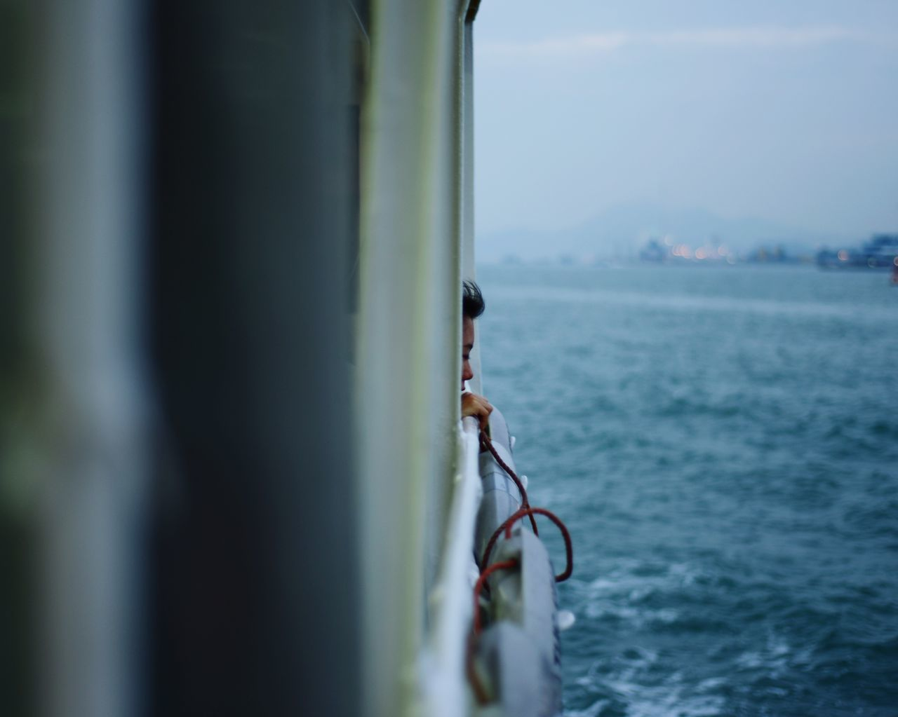 Sea Focus On Foreground Water Nautical Vessel Day Sky Close-up Outdoors Woman Boat HongKong Hong Kong Dreaming Wind In The Hair Blue Evening Light Romantic Memories Nature