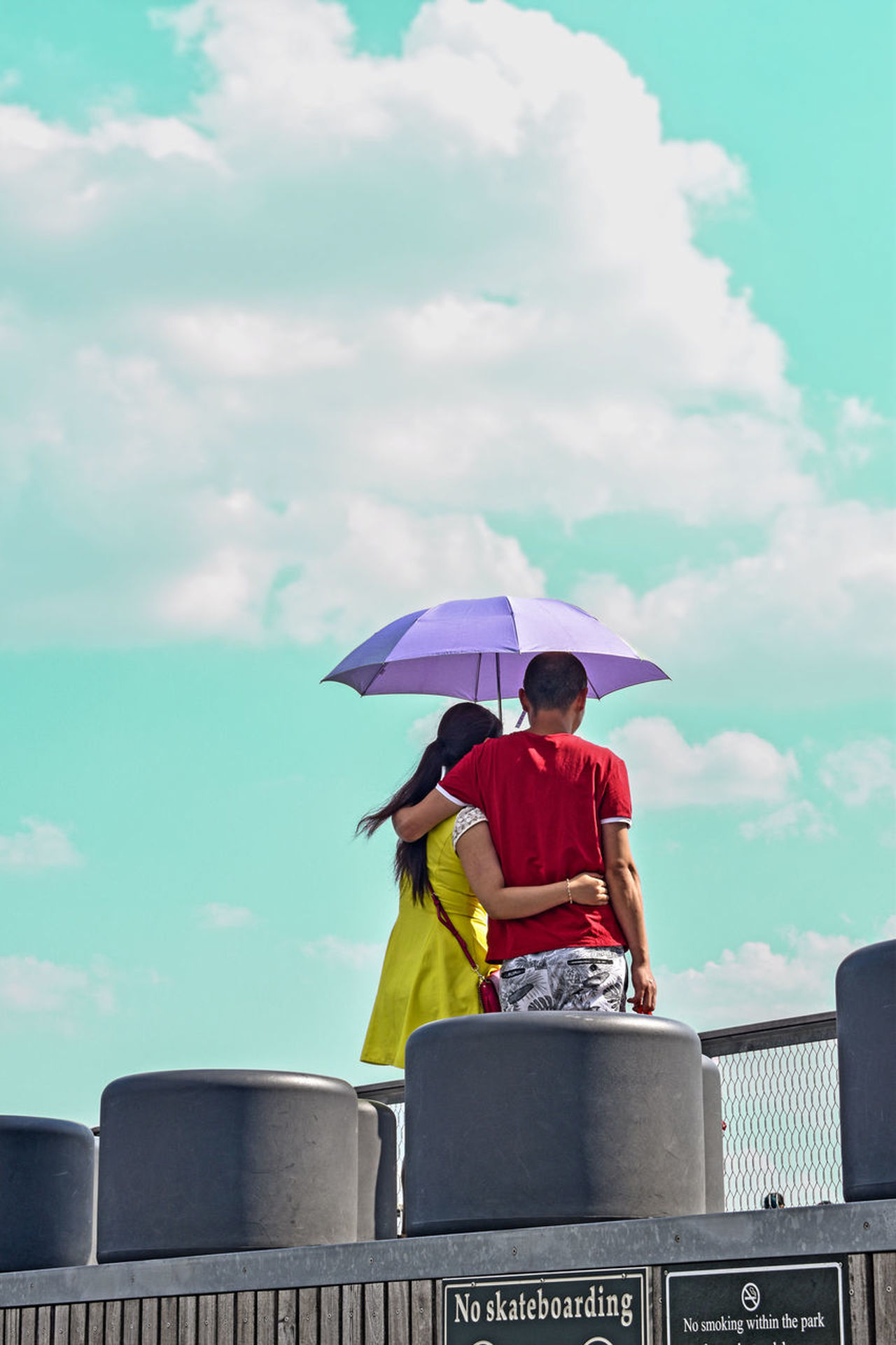 Color Portrait Colors Couple Love Sky And Clouds Cloud - Sky Clouds And Sky Couple - Relationship Couplegoals Day Holding Leisure Activity Lifestyles Men Nature One Person Outdoor Outdoors Outdoors Photograpghy  People Protection Real People Sitting Sky Umbrella