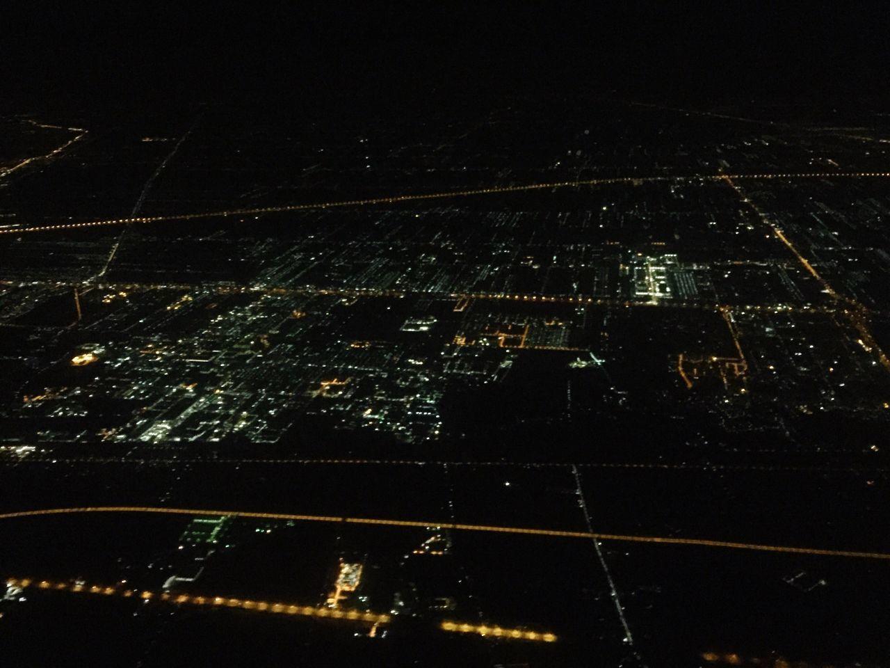 Illuminated City Night City Lights Looking Down