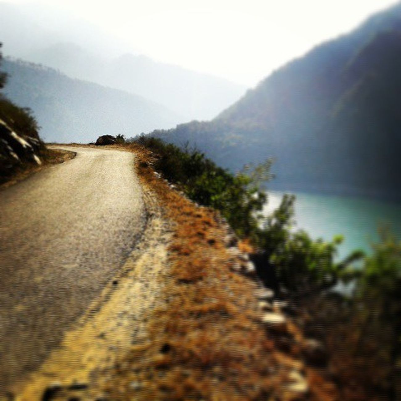 Roadlesstravelled Asphalt Road Riverside Riverroad Mist Mountains Hills Himalayas Ganges Heaven Beauty
